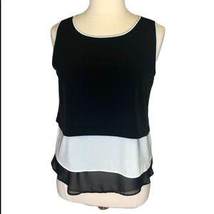NWT Calvin Klein Sleeveless Blouse Black & White